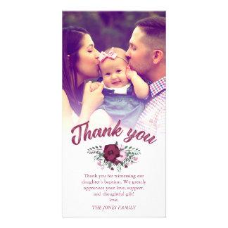 Carte Photo rose de Merci de baptême de bouquet de prune