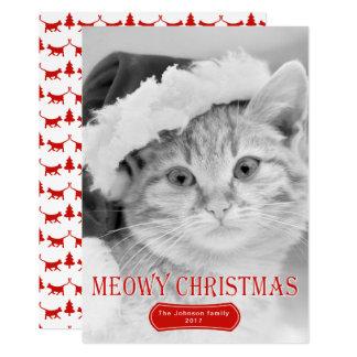 Carte Photo rouge de Noël d'animal familier de chaton de