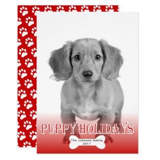 Carte Photo rouge de Noël d'animal familier d'os de