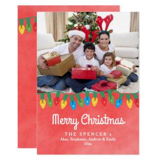 Carte photo rouge de vacances d'aquarelle de carton d'invitation  12,7 cm x 17,78 cm