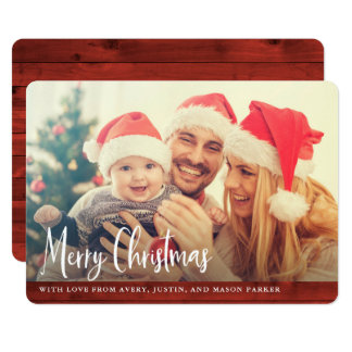 Carte Photo rouge rustique de Joyeux Noël en bois |