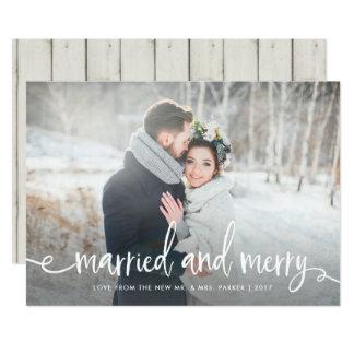 Carte Photo rustique | moderne mariée et joyeuse de Noël
