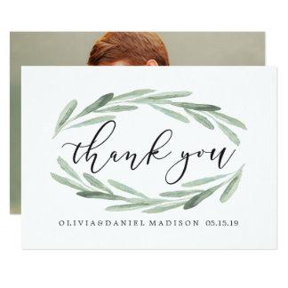 Carte Photo verte de Merci de mariage de guirlande de