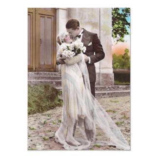 Carte photo vintage de jeunes mariés d'art déco carton d'invitation  11,43 cm x 15,87 cm