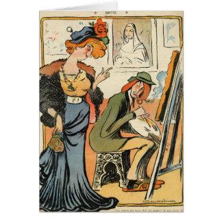Carte Phryne : caricature du modèle d'un artiste