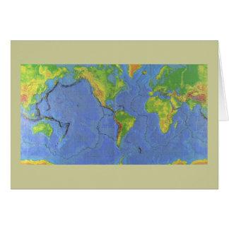 Carte physique du monde 1994 - plaques tectoniques