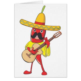 Carte Piment mexicain jouant une guitare