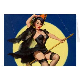 Carte Pin de sorcière de Halloween vers le haut de fille
