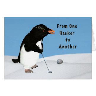 Carte Pingouin de CustomizeHumorous jouant au golf