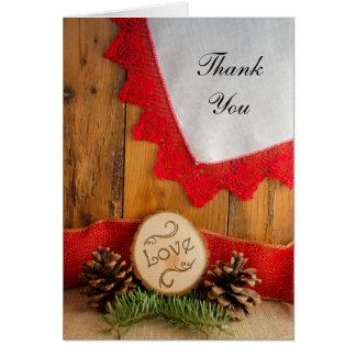 Carte Pins rustiques et Merci rouge de mariage de