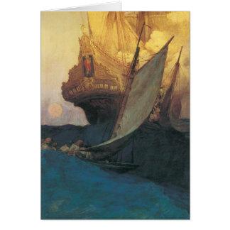Carte Pirate vintage, attaque sur un galion par Howard