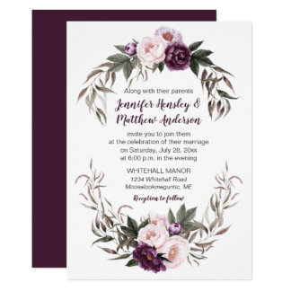 Carte Pivoines pourpres d'aquarelle de rose de prune