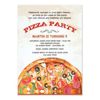Carte Pizza avec l'invitation d'écrimages
