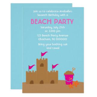 Carte Plage de château de sable et fête d'anniversaire