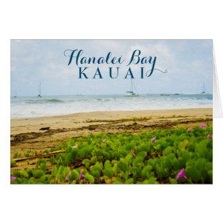 Carte Plage et bateaux de Kauai Hawaï de baie de Hanalei