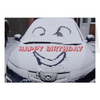 Carte Plaisanterie de neige, voiture avec un visage,