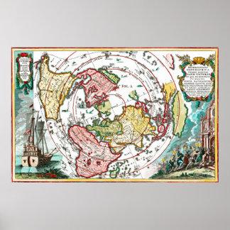 Carte plate de la terre de voyage de Magellan