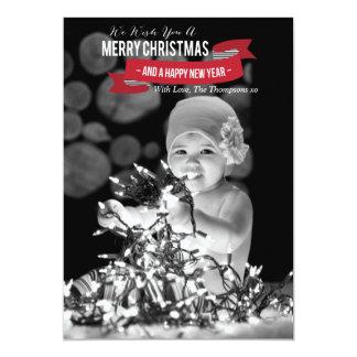 Carte plate de photo de Joyeux Noël et de bonne Carton D'invitation 12,7 Cm X 17,78 Cm