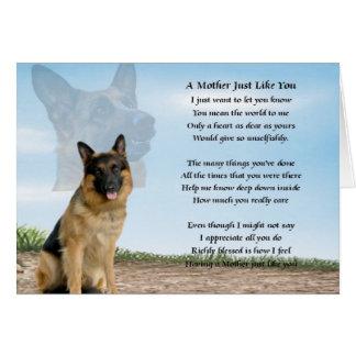 Carte Poème de mère - chien de berger allemand