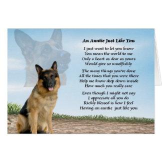 Carte Poème de tante - chien de berger allemand