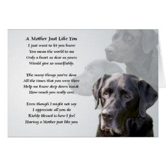 Carte Poème noir de mère de Labrador