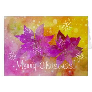 Carte Poinsettias et flocons de Noël
