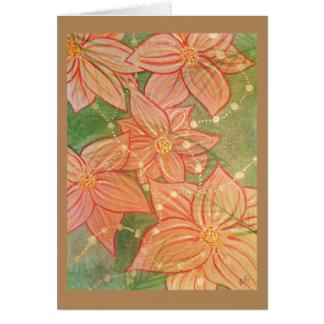 Carte Poinsettias et perles d'aquarelle sur l'arbre de