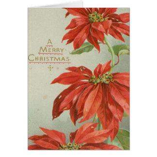 Carte Poinsettias vintages de Noël
