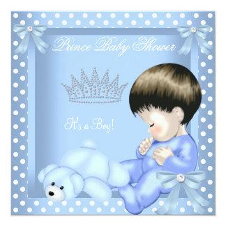 Carte Point de polka blanc bleu de petit garçon de