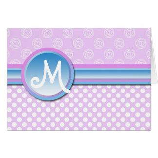 Carte Point de polka lilas de monogramme