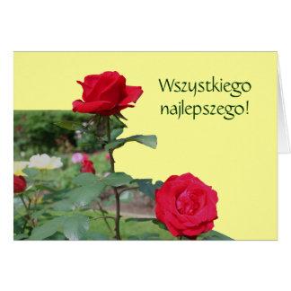 Carte polonaise de roses rouges de Lat de Sto