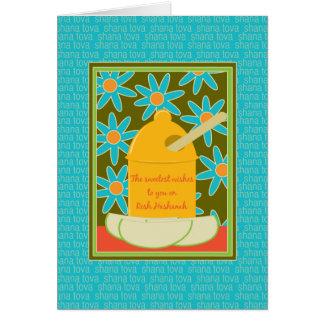 Carte Pommes et fleurs Rosh Hashanah de miel