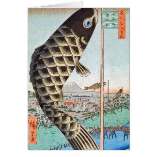 Carte Pont de Suido de cerf-volant de HIroshige