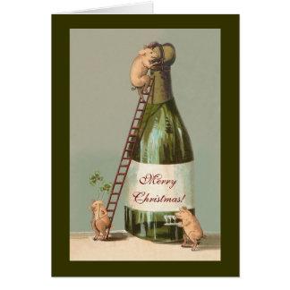 Carte Porcs et Champagne ; Noël vintage drôle