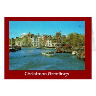 Carte Port de la Hollande, Amsterdam, bateaux de
