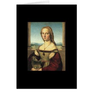 Carte Portrait de jeune femme avec la licorne