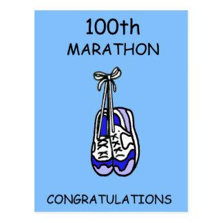 Carte Postale 100th Félicitations de marathon, bleues