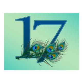 Carte Postale 17èmes nombres de paon d'anniversaire ou