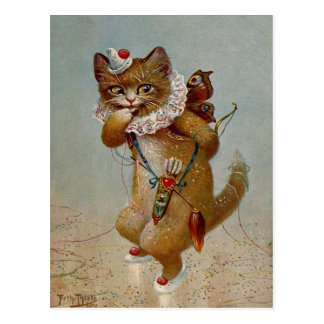 Carte postale 1900's tôt de cru de chat de cupidon
