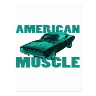 Carte Postale 1968 bleu américain de muscle du chargeur r/t