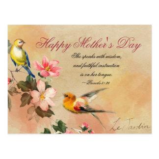 Carte Postale 31:26 de proverbes, vers de bible, le jour de mère