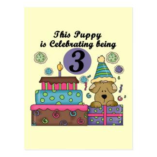 Carte Postale 3ème T-shirts et cadeaux de chiot d'anniversaire