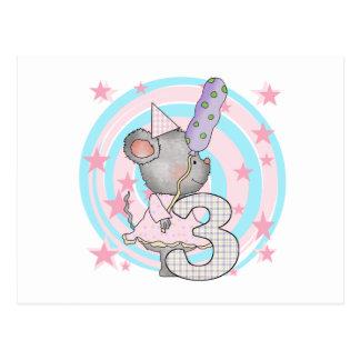 Carte Postale 3èmes T-shirts et cadeaux d'anniversaire de souris