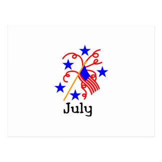 Carte Postale 4 juillet drapeau