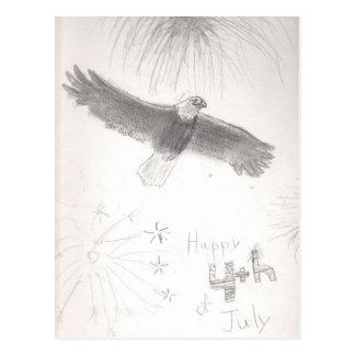 Carte Postale 4' Th de l'aigle chauve de feux d'artifice de