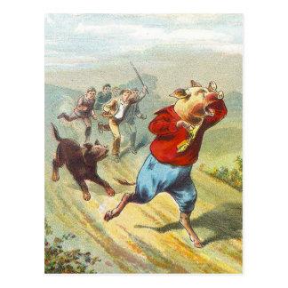 Carte Postale 5 petits porcs : Il a pleuré peu petit