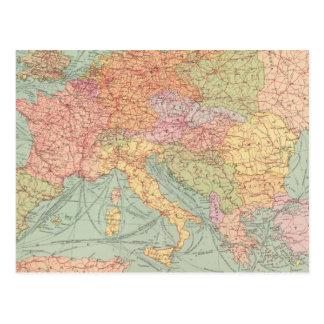 Carte Postale 910 voies de communication, Europe centrale