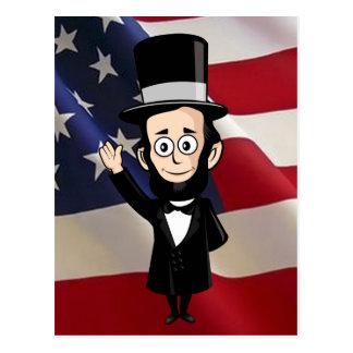 Carte Postale Abe honnête et étoiles américaines et ondulation