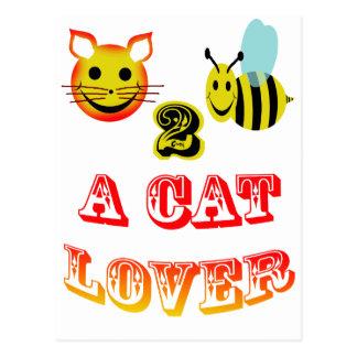 Carte Postale abeille 2 heureuse un amoureux des chats