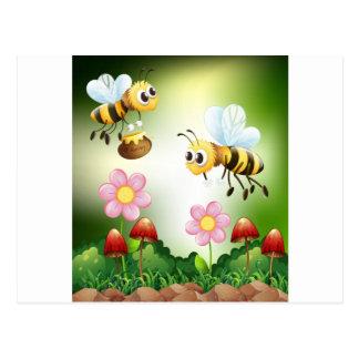 Carte Postale Abeille et miel